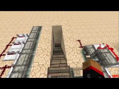 Secret/Hidden Piston Stairs! v1 [Minecraft Redstone Tutorials]