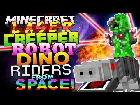Minecraft Mod   LASER CREEPER ROBOT DINO RIDERS FROM SPACE! - Minecraft Mod Showcase