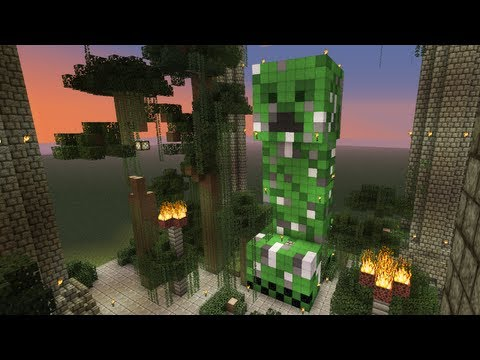 Giant Creeper Statue & Pillars [TUTORIAL] - Minecraft